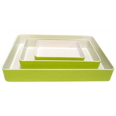 Serveringsfat 280 x 180 mm Stapelbar Lime/Vit